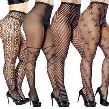 Plus Größe Strumpfhosen Socken Strumpfhosen Frauen Sexy Strümpfe Nylon Spitze Muster Sheer