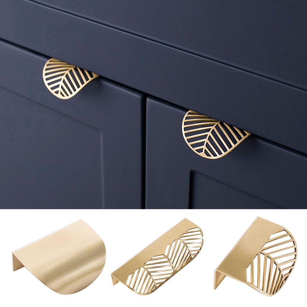Leaf Shape Furniture Kitchen Cab-inet Wardrobe Drawer Pull Knob Brass Door Handle Leaf design, luxurious elegant easy to install
