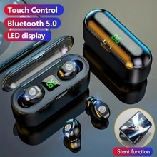 Earphones Wireless Headphones Touch Control Stereo Sport Earbuds Gaming With 2000 mAh Charging Heads