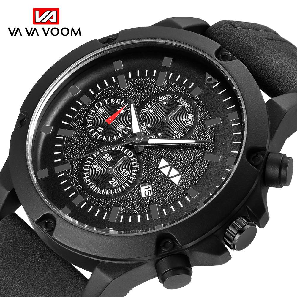 3D Triple Dials Mens Watches Quartz Man Watch waterproof sports business watches for Leather band Wristwatch Relogio