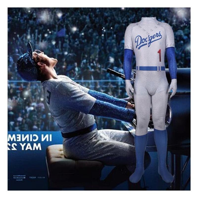 Movie Rocketman Cosplay Costume Elton John Baseball Sequins Uniform Cap Jumpsuit Outfit Adult Men Halloween Costumes
