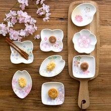 Ceramic Small Plate Cherry Blossoms Dessert Dish Japanese-Style Porcelain Sushi Tray Household Porcelain Tableware