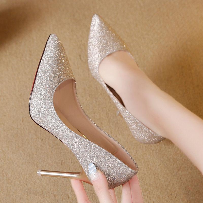 Zapatos de tacón alto para mujer, únicos, fáciles de combinar, 10cm, moda 2020, zapatos de fiesta de PU plata puntiaguda, tacones altos