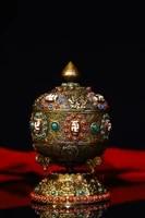 old tibetan silver filigree gem dzi bead prayer wheel mani liberation wheel scripture inside exorcism ward off evil spirits
