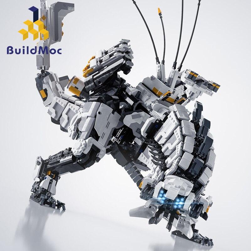 Buildmoc DIY MOC Super Horizon Dawn Thunder Tooth Mechanical Monster Series Building Blocks toys for children gifts
