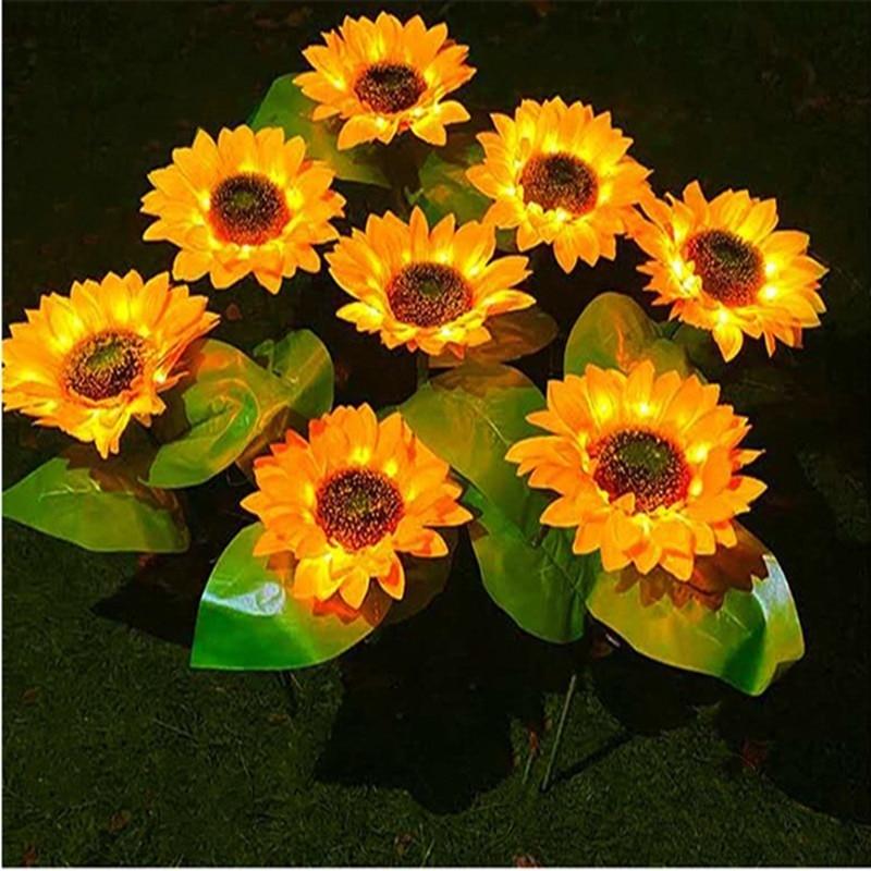 Sunflower Solar Lawn Light Garden Decoration Outdoor Led Waterproof Street Garland Lamp Lighting