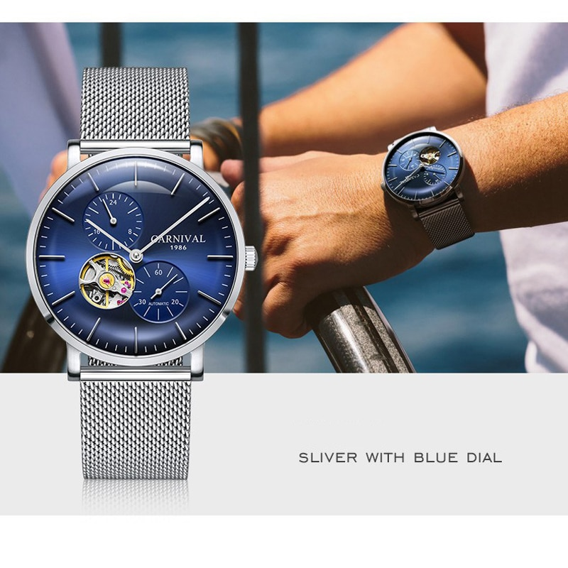 CARNIVAL New Fashion Business Men Automatic Mechanical Watch  Hollow Waterproof Stainless Steel Mesh Strap Relogio Masculino enlarge