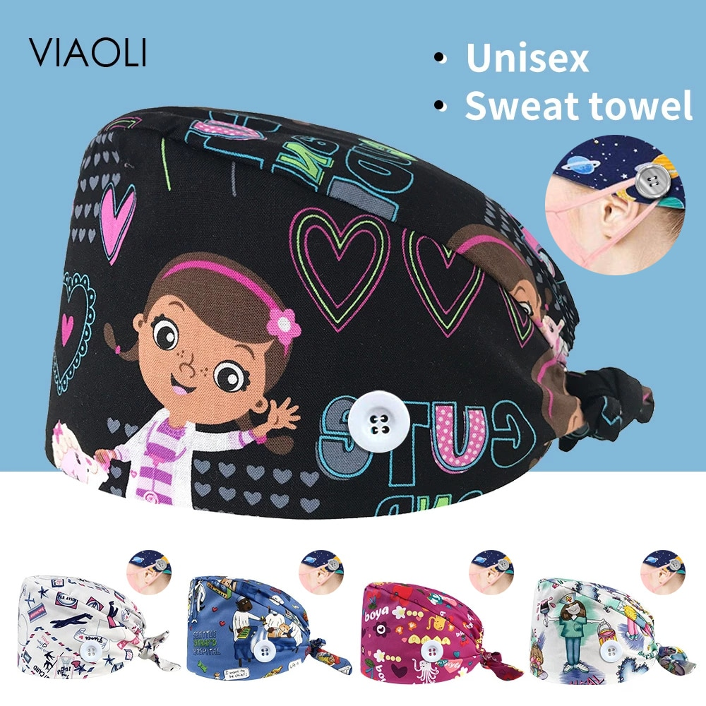 High Quality cartoon print sweat-absorbent Scrub hat Beautician cute hat spa lab men and women adjustable Scrub caps wholesale