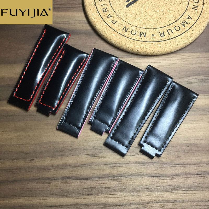Pulseiras de Relógio para Mulheres dos Homens Cinta à Prova Cinto de Couro Nova Fuyijia Cordovan Personalizado Logtipo Dwaterproof Água Hip Marca Superior 20mm 22mm