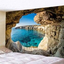 Tapeçaria de parede de pendurar em caverna, bonita natureza, caverna, parede, tapeçaria, paisagem do mar, imagem, poliéster, pano, tapeçaria, cobertor