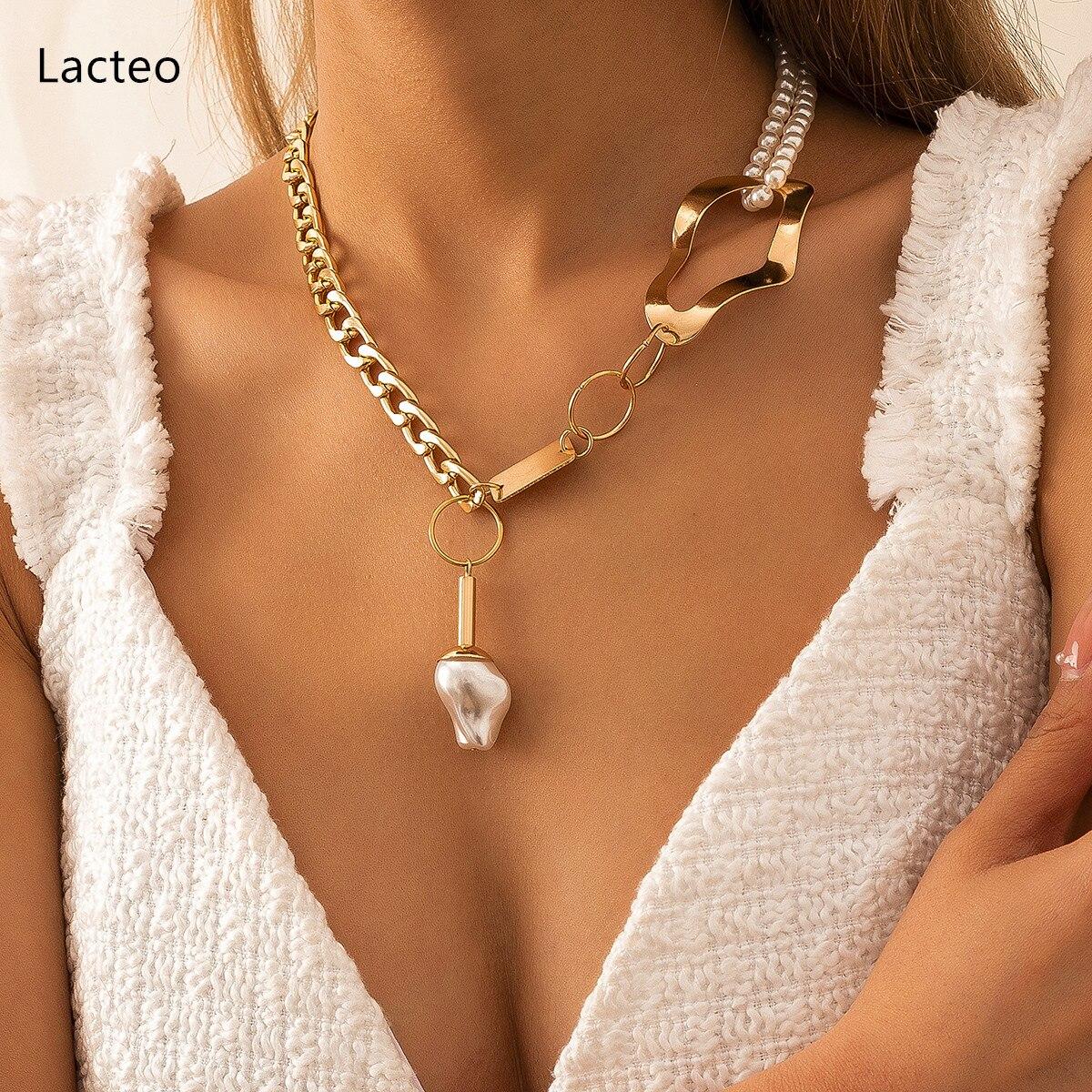 Lacteo Bohemian Irregular Imitation Pearls Pendant Necklace Jewelry Steampunk Asymmetric Cuban Chain Choker Gifts