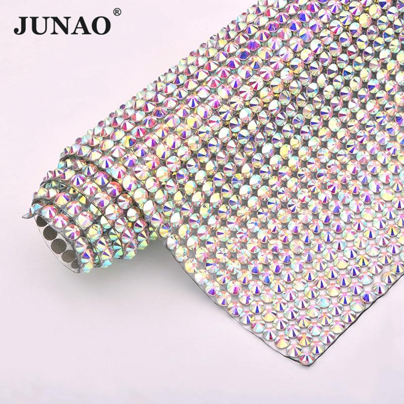 JUNAO 24*40cm SS20 Crystal AB Hotfix Glass Rhinestone Mesh Trim Iron On Crystal Fabric Applique Strass Ribbon Banding For Crafts