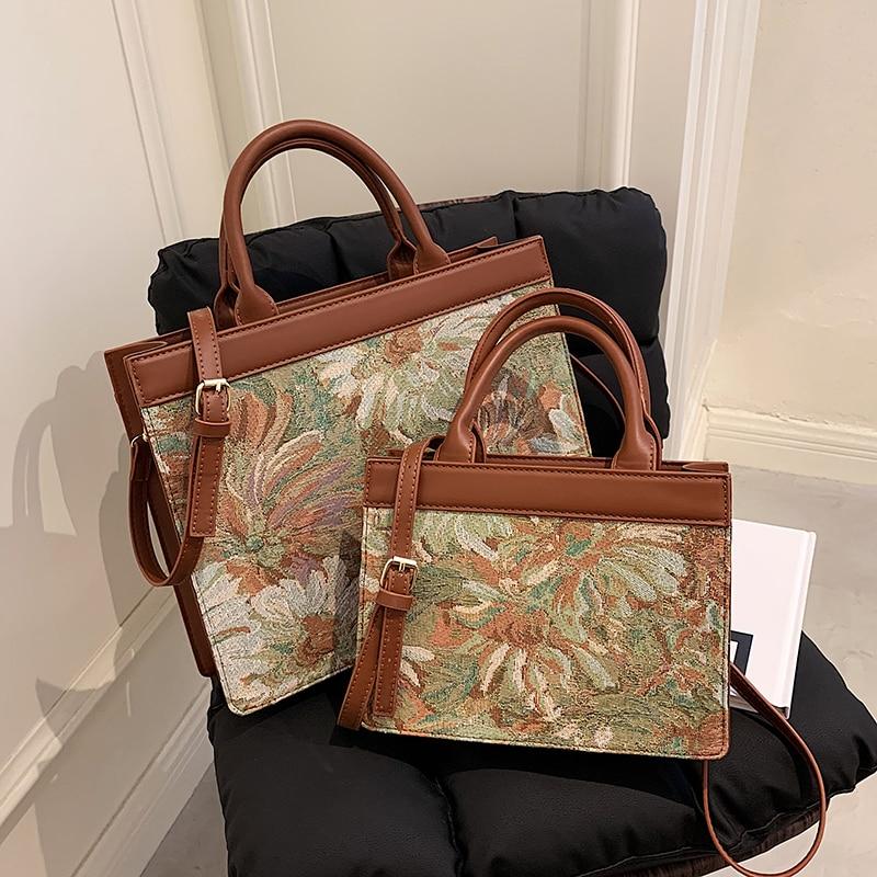 Tote Bags For Women Oil Painting Pattern Handbag Luxury Bag Women Brand Crossbody Bag Top Handle Clu