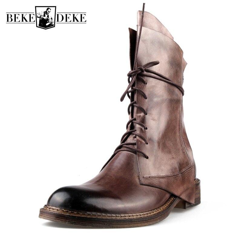 أحذية أمان للرجال من جلد البقر الطبيعي ، أحذية غربية لركوب رعاة البقر ، كعب متوسط ، برباط ، أحذية عمل عتيقة ، منتصف الساق ، لفصل الشتاء