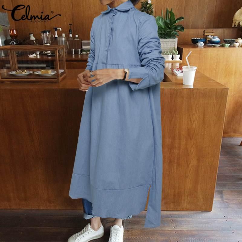 Vestido para mujer en tallas grandes Celmia moda Otoño Lapel manga larga camisa Demin Vestidos botones sueltos sólido Casual Midi Vestidos Robe