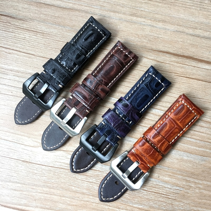 22mm 24mm 26mm Blue Black Brown Crocodile pattern Leather Watchband Replace Panerai PAM Big Pilot Mi