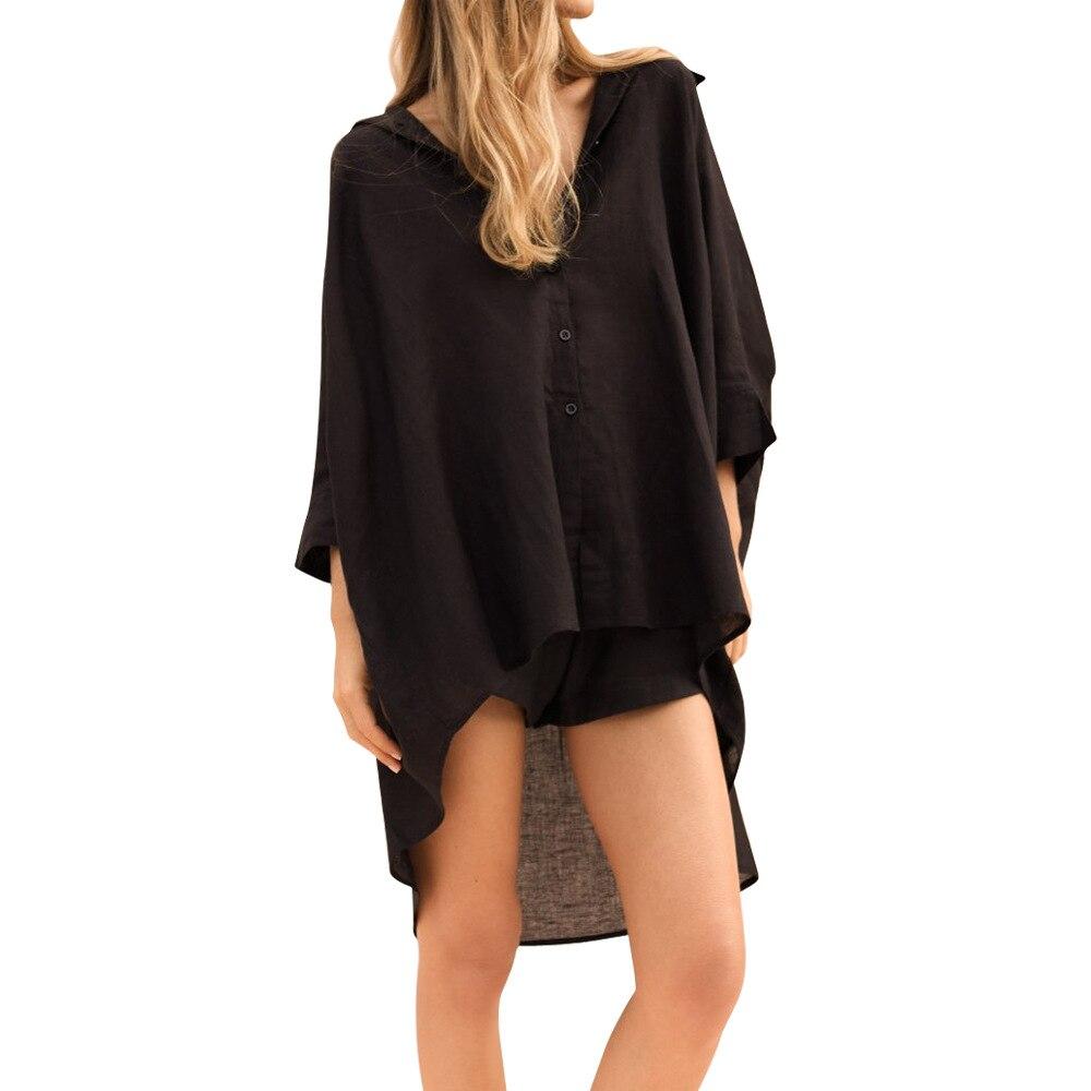 2020 de moda y blusas Tops para mujer de giro-abajo Collar de Irrgular largo camisas señoras Tops ropa de mujer
