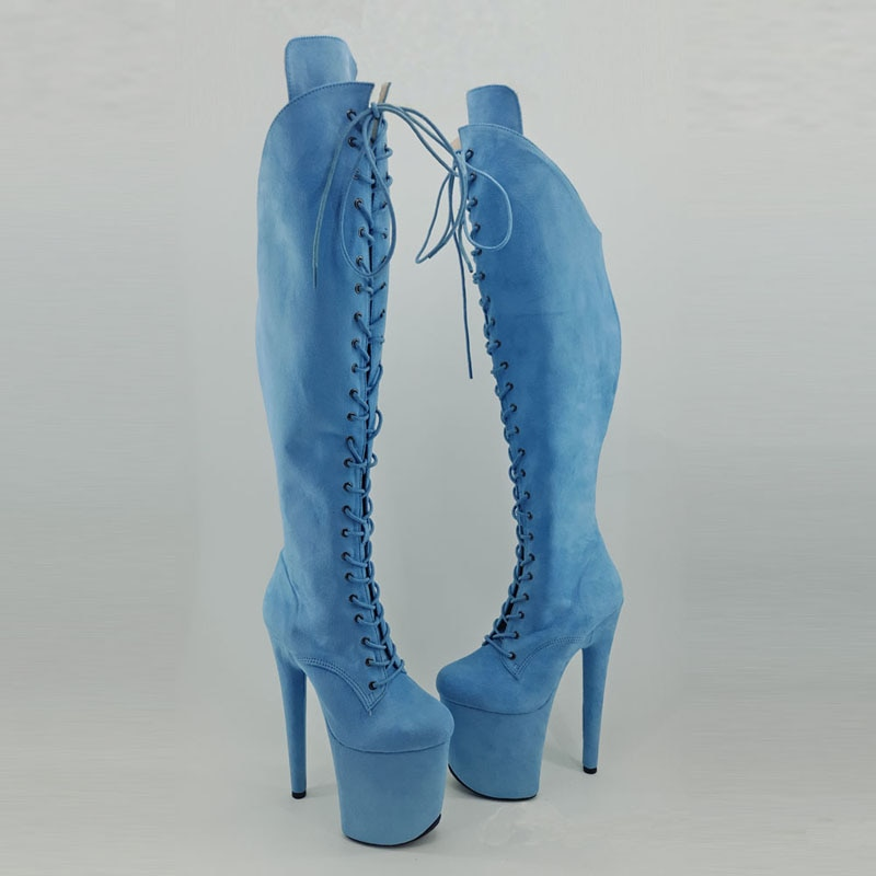 Leecabe  Light Blue 20CM/8inches Pole dancing shoes High Heel platform Boots closed toe Pole Dance boots