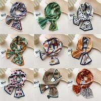 spring korean scarfs for women breathable soft narrow long striped satin scarf colorful elegant ladies scarves wholesale