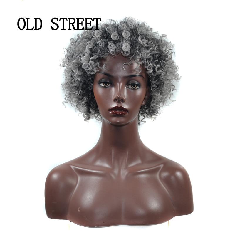 Pelucas rizadas Afro con pelo sintético para mujeres, parte de fibra de alta temperatura, peinado africano corto, color gris mezclado