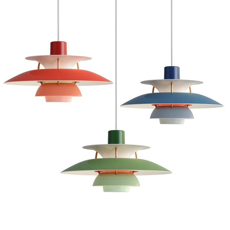 Luces LED colgantes PH5 de diseño nórdico, lámpara de suspensión colorida en...