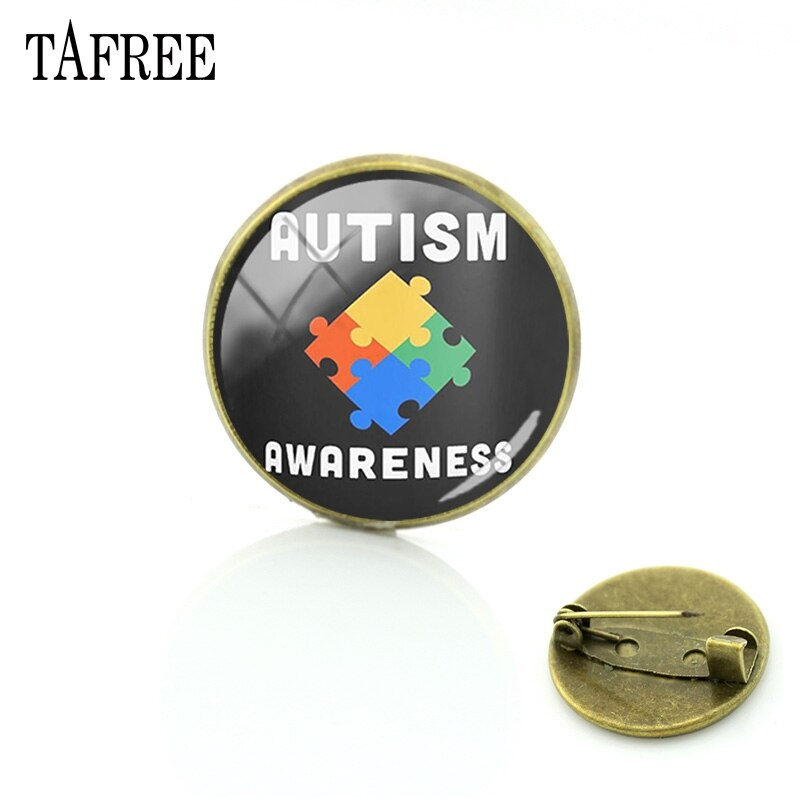 TAFREE amo a alguien con autismo broches de bronce de moda 20MM cabujón de vidrio foto imprimir arte ropa joyería MA96