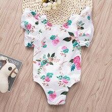 Baby Mädchen Onesie Blumen Trikot Flattern Hülse Backless Lustige Kaninchen Schwanz Baby Mädchen Bodysuit 3 6 Monate Baby Mädchen Kleidung
