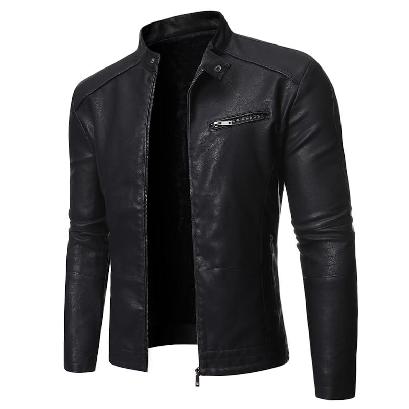 Men Jacket Leather 2021 Motorcycle Men's Leather  Lapel Versatile Personality Slimming Zipper Pocket Men's Wash Leather Coat slimming hooded patch pocket french front back slit slimming long sleeves men s camo coat