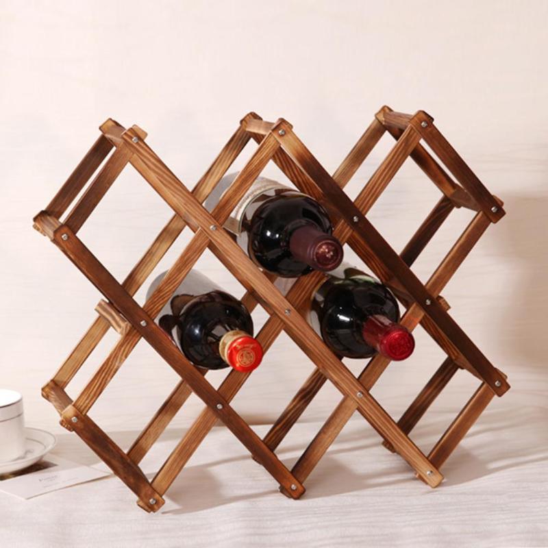 Estante de madera clásico para vino tinto, soporte plegable para 10 botellas, estante de exhibición para Bar de cocina, organizador para mesa de casa, decoración