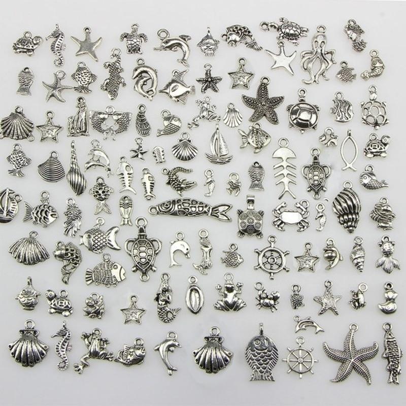 50 тибетские серебряные смешанные морская лошадь ракушка Морская звезда черепаха океан Подвески кулон и 100 шт цветок бусины шапки самодельные Украшения, Аксессуары