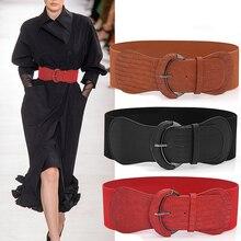 Cinturón ancho elástico para mujer, accesorios de moda, corsé ancho, hebilla de Metal, 1 ud.