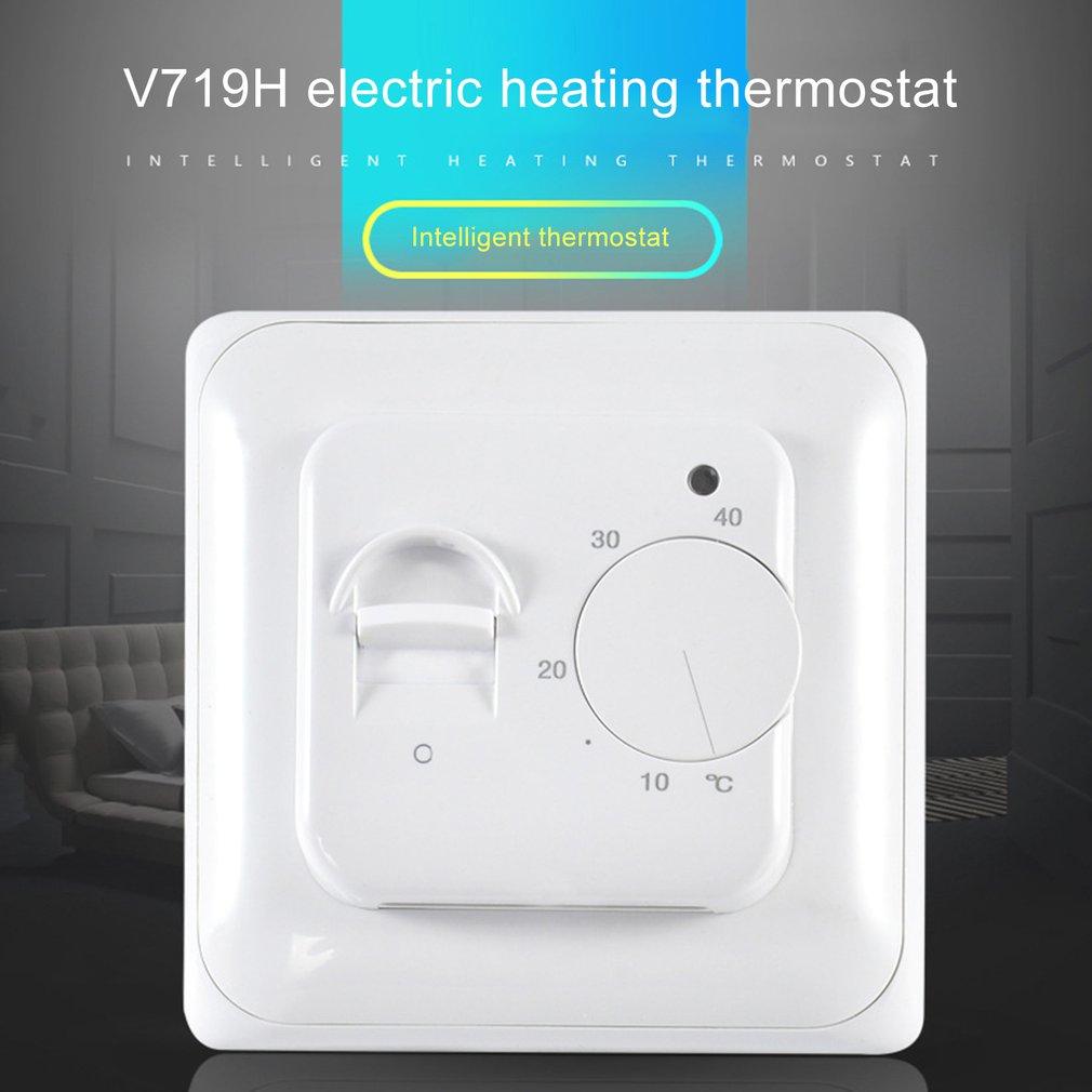 V719H داخلي الاحترار متحكم في درجة الحرارة 220 فولت 16A التشغيل اليدوي الطابق غرفة ترموستات التدفئة غرفة التحكم التبديل