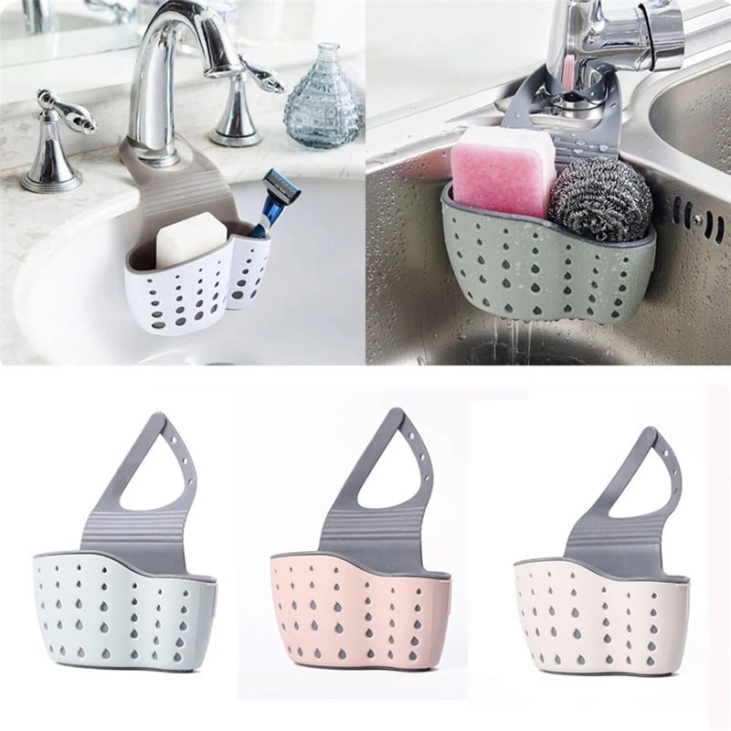 Sink Shelf Soap Sponge Drain Rack Silicone Storage Basket Bag Faucet Holder Adjustable Bathroom Hold