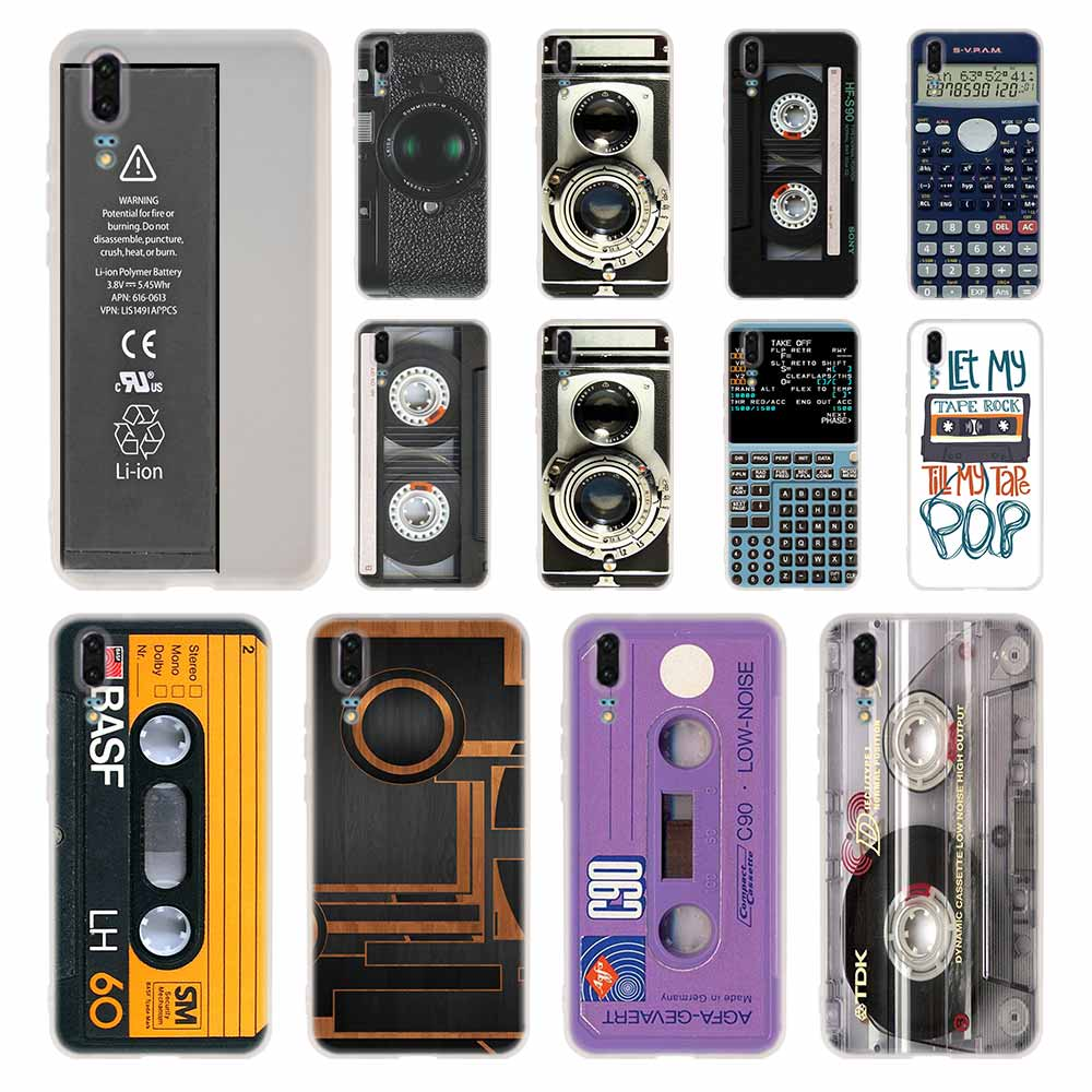 Caso de silicona suave cubierta de TPU para Huawei P30 P20 Pro P10 P9 P8 Plus P Smart Lite 2019 Cassette cinta de audio de los casos
