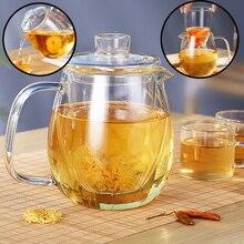Théière en verre de 1200ml   Avec infuseur amovible, bouilloire à thé sûre peut être chauffée, filtre à thé floraison, ensemble de théière à feuilles souples