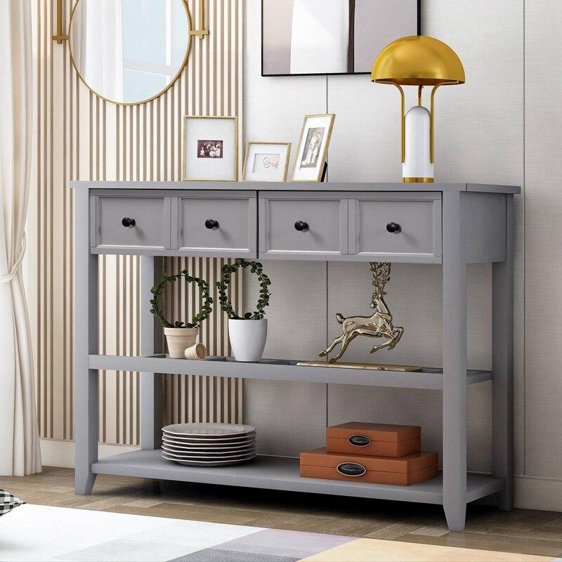 خشب متين طاولة وحدة التحكم للمنزل الكلاسيكية مدخل الجدول مع اثنين من رفوف والأدراج