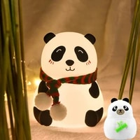 silicone panda night light touch sensor lamp usb rechargeable colorful atmosphere light bedroom bedside lamp for kids gift cute