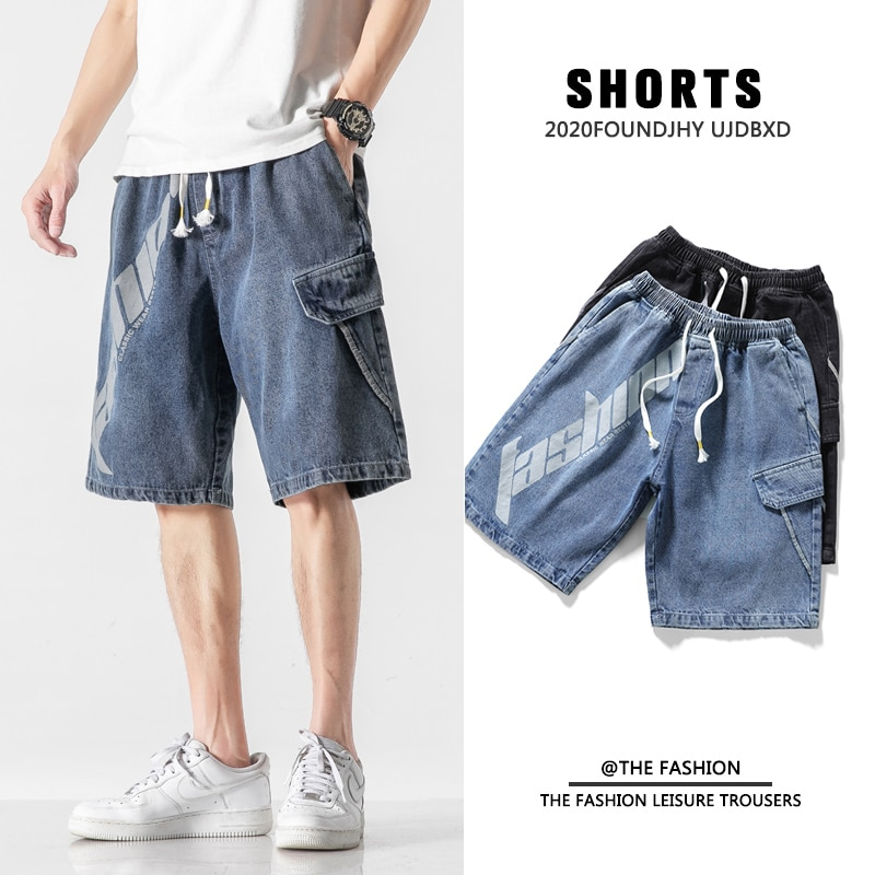 Summer Men Jeans Shorts Fashion Casual Treetwear Hot High Quality Retro Cotton Denim Baggy Pants Har