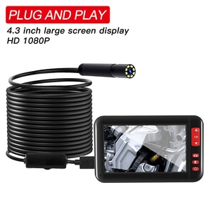 HD 1080P 8MM Lens Screen Display Endoscope Camera Waterproof Inspection Borescope Camera With 4.3 Inch Screen Car Monitor 10M