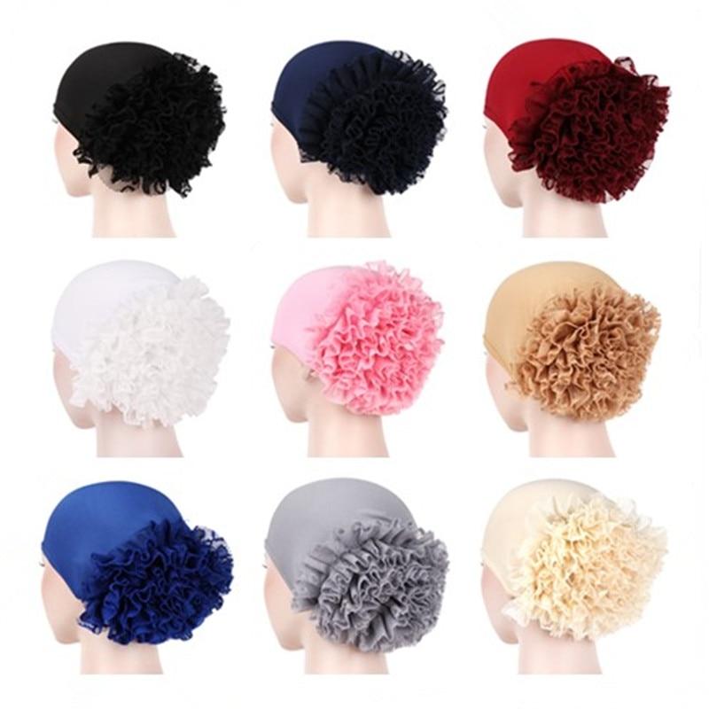 Liso grande encaje flor elástico tamaño musulmán Hijab turbante Bonnet Tudung tapa interior pelo cubre 10 colores