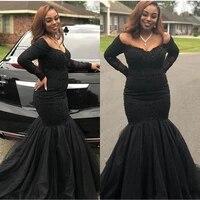 black mermaid prom dresses 2020 off the shoulder long sleeve evening dresses sexy v neck plus size party dress robe de soiree