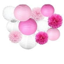 1 juego de bolas de papel redondas de lampion redondas, rosas, moradas, multicolores, pompones para flores, para decoración colgantes para fiestas de cumpleaños o bodas
