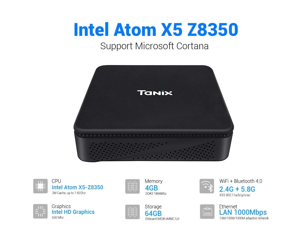 Neue generation mini box TX85 Mini PC Intel AtomX5-Z8350 4G64G VGA 4Core win10 BT 5,8 gwifi Dual Wifi TV box für Xiaomi Android