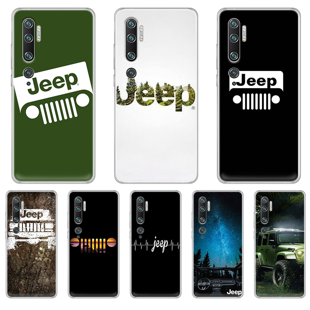 American JEEP Car luxury soft back bumper Transparent Phone Case For XIAOMI mi 3 4 5 5X 8 9 10 se max  pro a2 9T  note lite