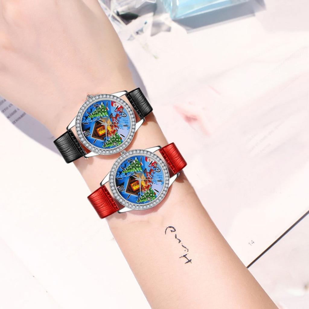 Nuevo diseño navideño, reloj informal para mujer, Relojes de Cuero de lujo para mujer, relojes de cuarzo de mujer, reloj femenino, reloj de horas, regalo negro 904