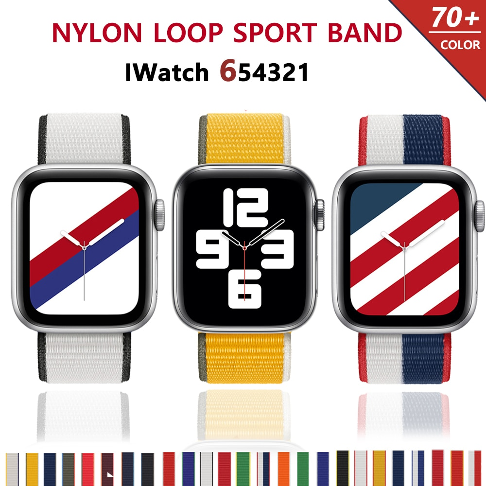 sport nylon fabric watch band for apple watch 38mm 42mm strap soft watch loop for iwatch 5 4 3 2 1 watchband for iwatch bracelet Nylon Loop Strap for apple watch band 44mm 40mm 38mm 42mm 44 mm iWatch bracelet correa Watchband for apple watch 6 5 4 3 se band