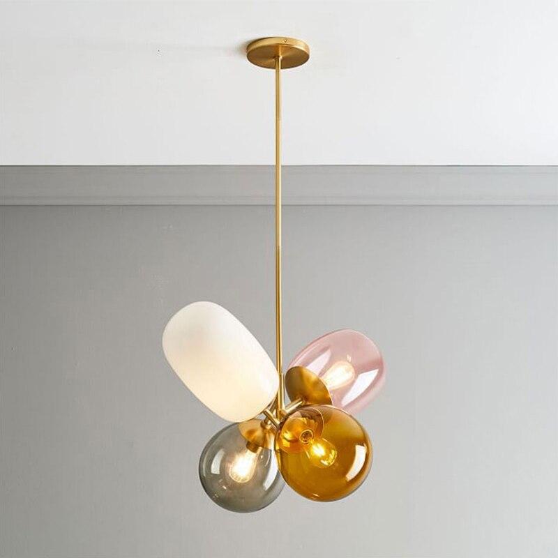 Luces colgantes minimalistas modernas lámparas colgantes de vidrio coloridas creativas lámparas LED para restaurante iluminación de lustre de Interior para el hogar