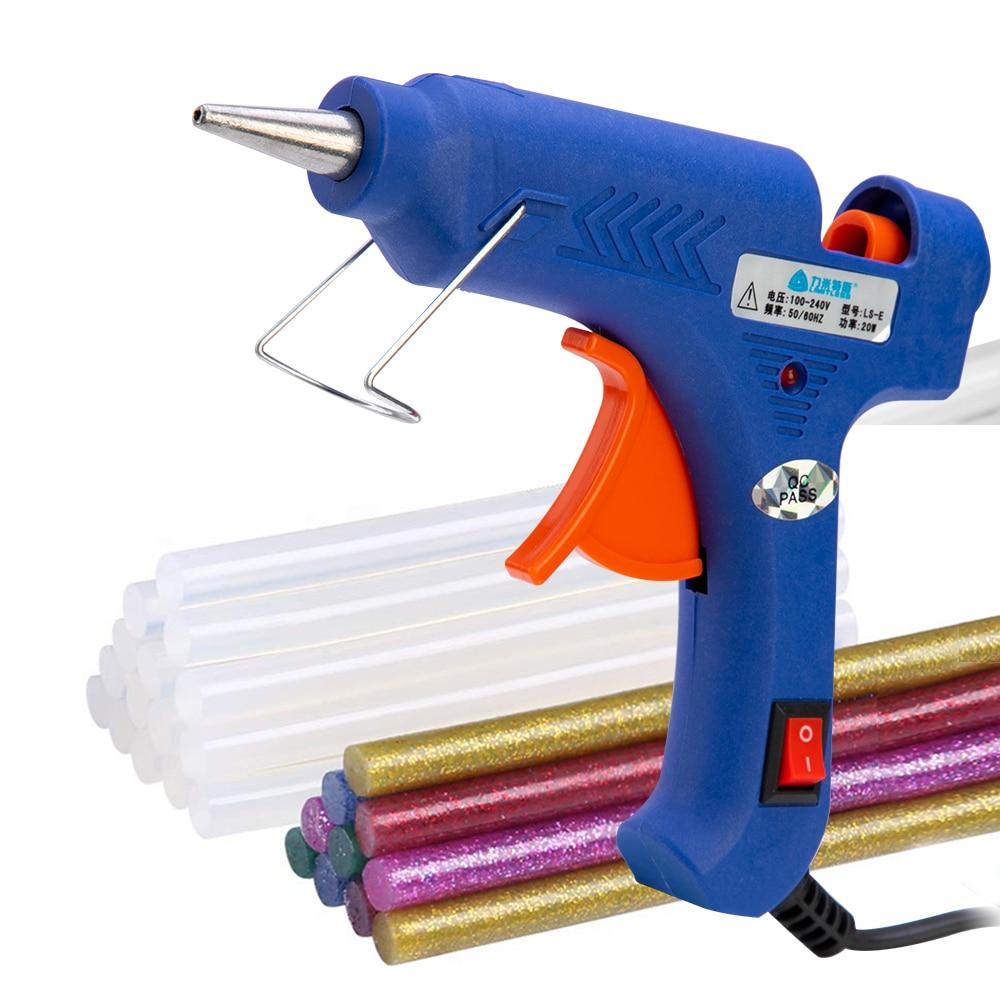 20W Hot Glue Gun Set With 7x100mm Melt Sticks Tweezers High Temp Heater Repair DIY Tool Mini Guns