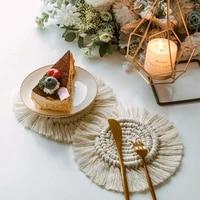 bohemia style non slip cup mat home creative round cotton braid coaster handmade macrame cup cushion heat resistant table mat
