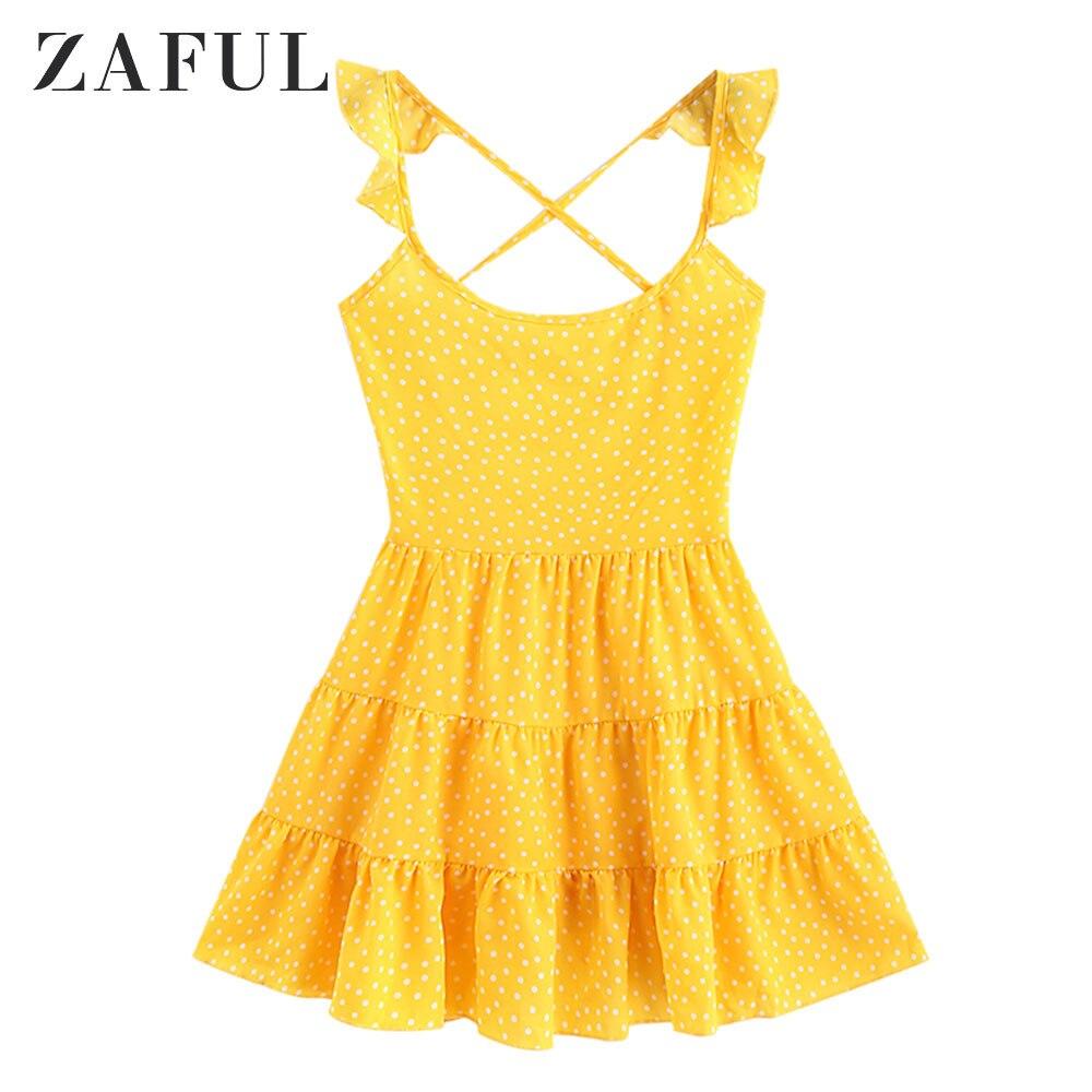 ZAFUL Dots Lace Up Criss Cross Mini vestido para mujeres Flounced correas abrir espalda vestido amarillo